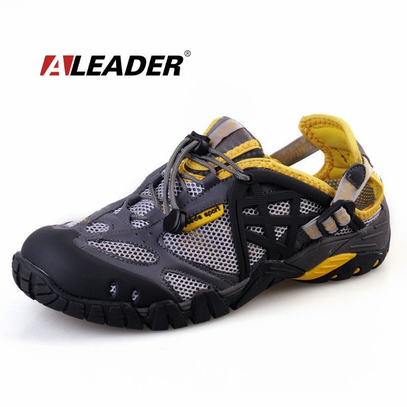ФОТО Aleader Breathable Shoes Mens Summer Leather Walking Shoes 2017 Waterproof Outdoor Beach Sandals Water Shoes for Men Sandals