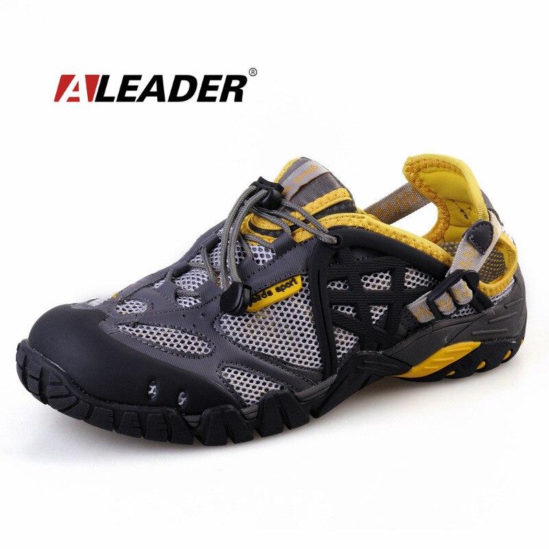 Aleader transpirable zapatos para hombre de cuero de verano zapatos para caminar