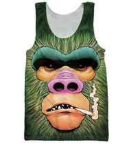Smokey Gorilla Tank Top Men Women Summer style casual Sleeveless vest 3D Digital printing Animal Gorilla Vest Cool Tank tops personality 3d round neck gorilla print tank top for men