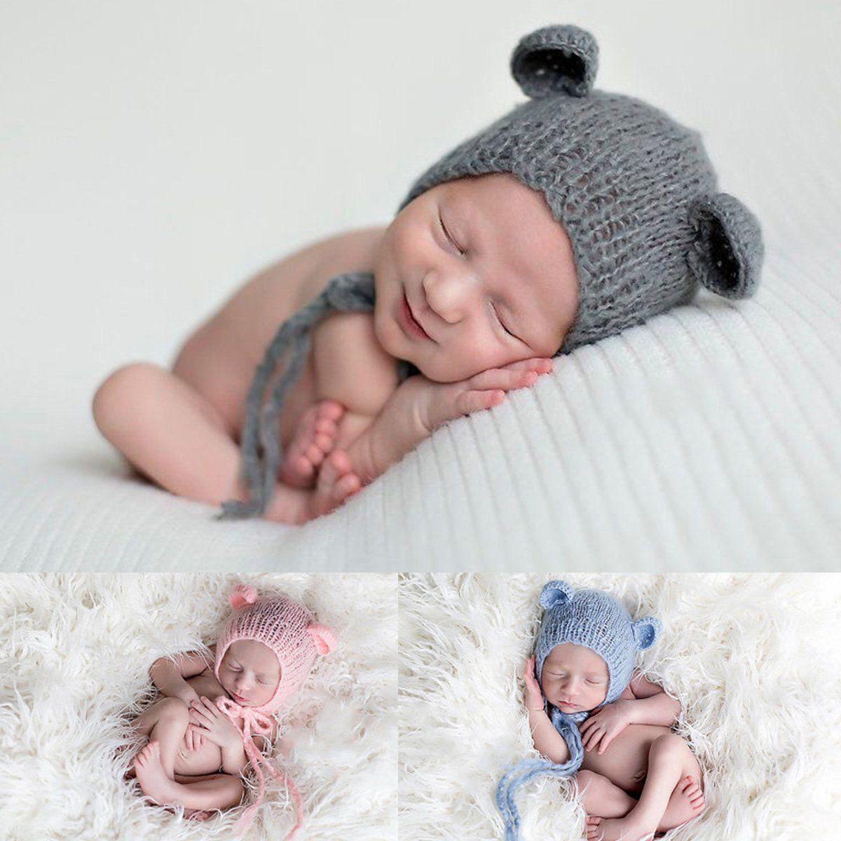 Infantil bebé recién nacido Punto de ganchillo oso sombrero disfraz ...