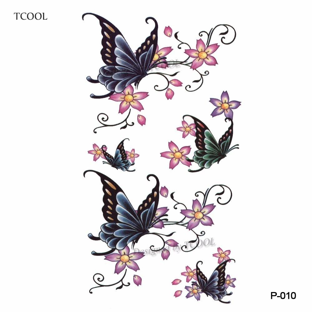 HXMAN Butterfly Flower Temporary Tattoo Sticker Waterproof Fashion Women Arm Fake Body Art 10.5X6cm Kids Adult Hand Tatoo P-010