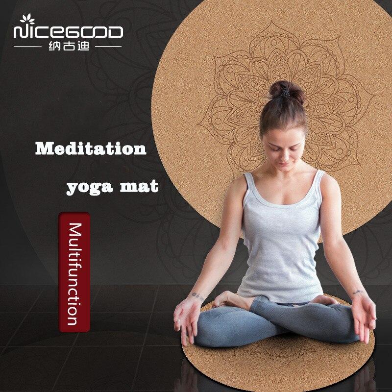 Stuoia di Yoga Little Round Mandara Sughero Naturale Gomma 60*60 cm * 3mm Antiscivolo Casa Cuscino Yoga meditazione Cuscino Pad Pilates Pad