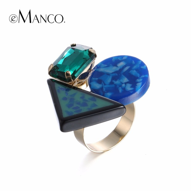 eManco Trendy Minimalist Colorful Geometric Rings for Women Crystal Imitation Stone Resin Copper Gold-color  Accessories Jewelry