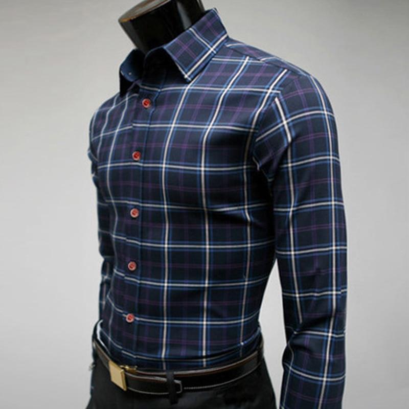 Striped Shirt Men Long Sleeve Fashion Plaid Shirts Mens ...