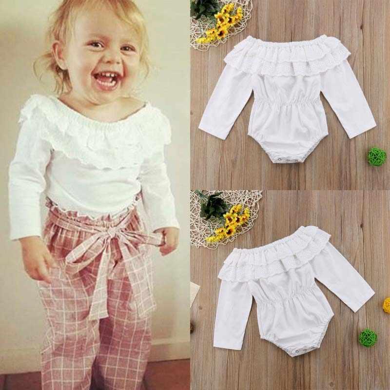 Модные зимние боди для новорожденных; одежда с длинными рукавами и открытыми плечами для маленьких девочек; кружевной комбинезон принцессы для маленьких девочек
