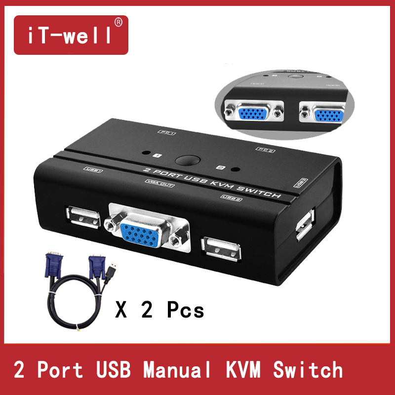 VGA Switch  KVM Switch Control 2 PC Hosts By 1 Set Of USB Keyboard Mouse And VGA Monitor Multi PC Manage Original Cable