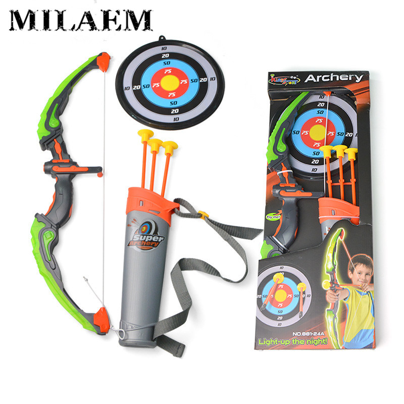 1Set Kids Archery Bow with Arrow Set Safe Shooting Hunting Game for Garden Park Fun Toxophily Children Kids Hunting Practice Toy