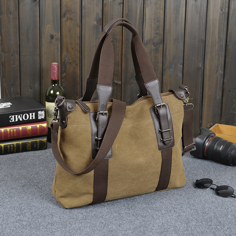 ROLWING Retro Men Briefcase Business Shoulder Bag Canvas Messenger Bags Man Handbag Tote Bag Casual Travel Bag Sac Hommes MB26