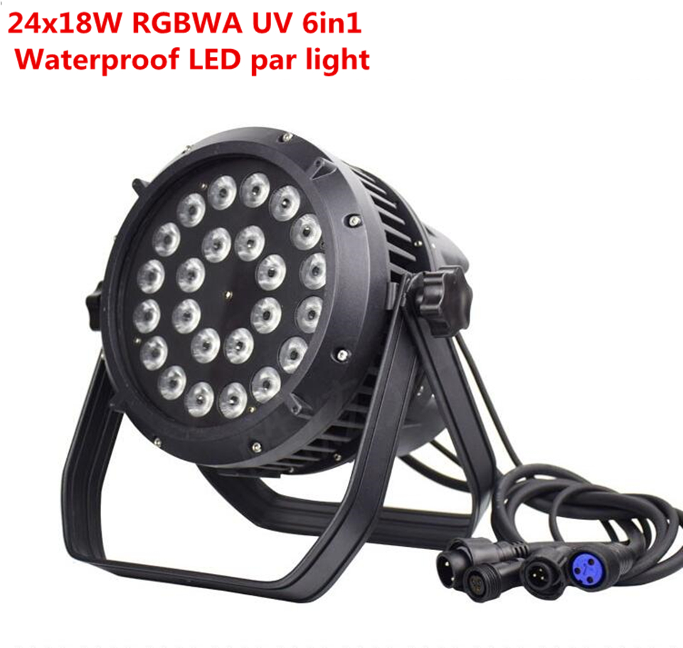 24x18w  IP65 Waterproof Led Par Lights RGBWA UV 6in1 LED PAR DMX512 Control Professional Stage DJ Equipment Disco Lights