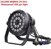 24x18w IP65 waterproof led Par Lights RGBWA UV 6in1 LED PAR DMX512 control professional stage lights DJ equipment disco lights