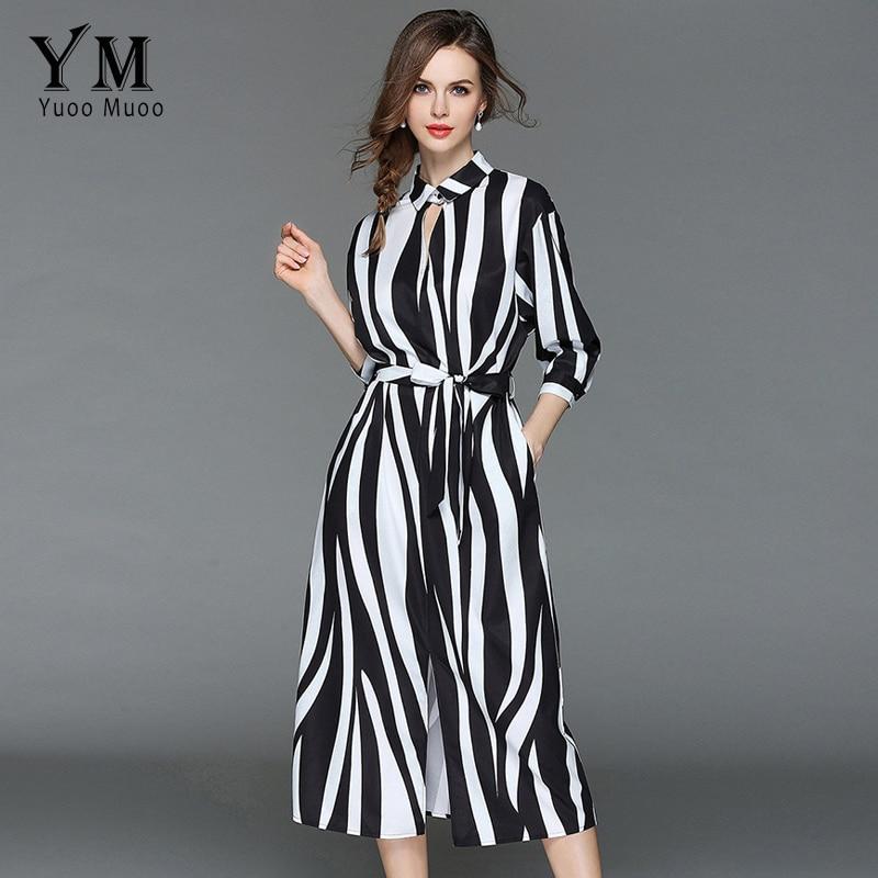 YuooMuoo 2018 Summer Zebra White and Black Stripe High Street A-Line Shirt  Dress Three ecb7833ed