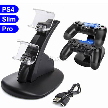 Soporte para cargador Dual PS4 con 2 LED Micro base conectora de carga USB para Sony Playstation 4/PS4 Pro/PS4 Slim Controller