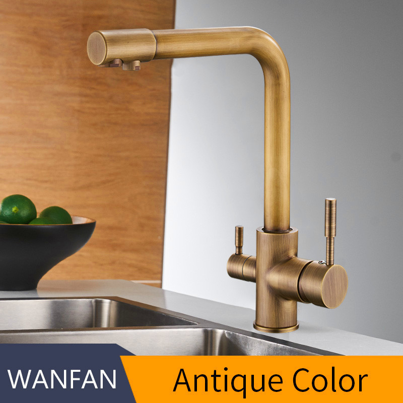 Antique Filter Kitchen Faucets Deck Mounted Mixer Tap With Water Purification Features Mixer Tap Crane For Kitchen WF-0175F
