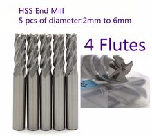 5 pcs diameter 2 mm to 6mm with 4 Flutes HSS M2AL router bit end mill for CNC milling machine tools mills cutter(China)