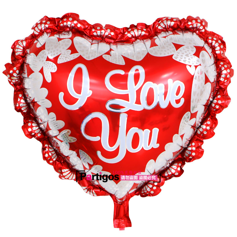 wedding : 100pcs lot 45 45cm love mix heart shaped aluminum foil balloons LOVE YOU I Balloon Wedding balloon