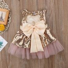 Принцессы Одежда для детей; малышей; девочек блестки кружевные платья платье для дня рождения спинки бантом сарафан Туту Тюль бальное платье наряды