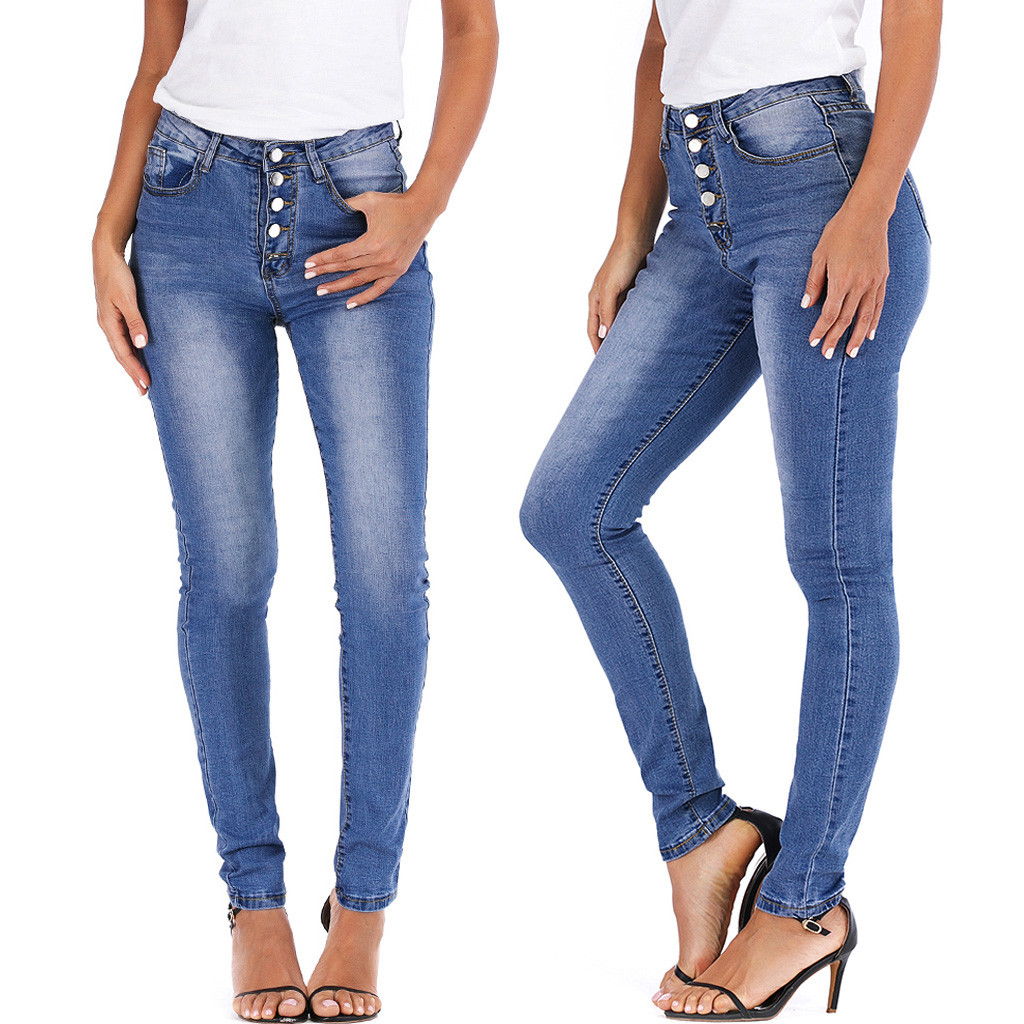 Women's High Waist Button Bag Hip Casual Pencil Pants Jeans Bodycon Casual Washed Denim Skinny Stretch Jeans 2019 Summer 7.1