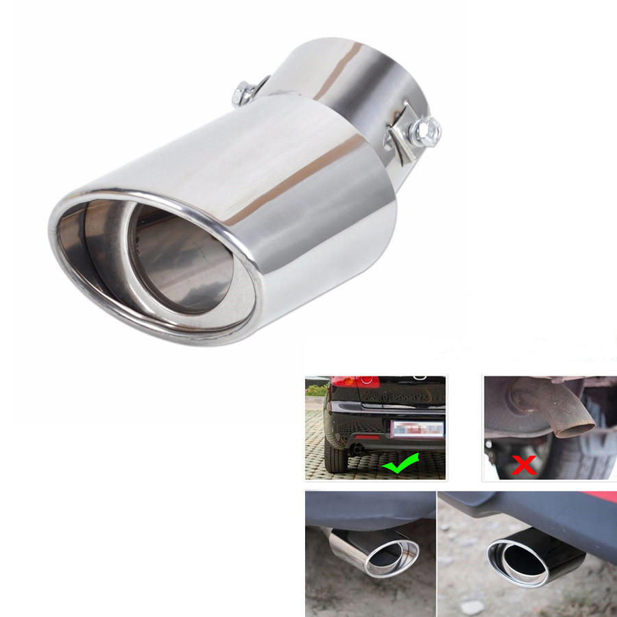 YAQUICKA Stainless Steel Round Car Rear Exhaust Tail Tip Pipe Throat Muffler Styling Universal Car Use 1Pc