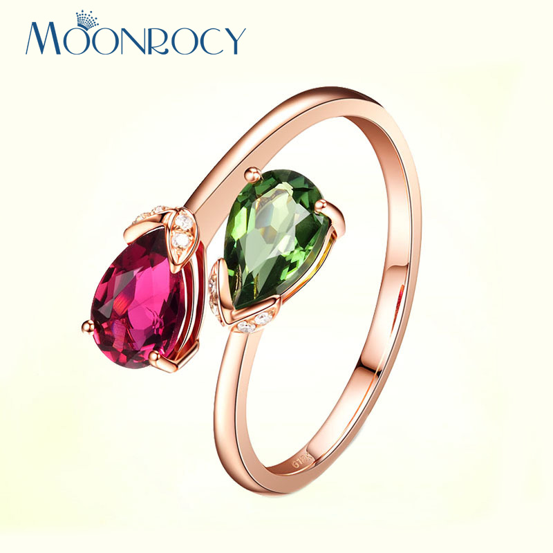 MOONROCY Drop Shipping Wholesale CZ Rings Cubic Zirconia Red Green Colourful Crystal Wedding Ring for Women Girl Gift for Party