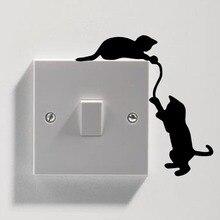 Interruptor extraíble Divertido Gato Negro Etiqueta de La Pared Calcomanía de Vinilo Casa BRICOLAJE decoración del Hogar Calcomanías Arte de La Pared De Papel Mural Envío libre Y-64