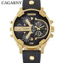 Cagarny Men's Watches Quartz Watch Men Fashion Wristwatches Leather Watchband Date Dual Time Display Military Watches Men