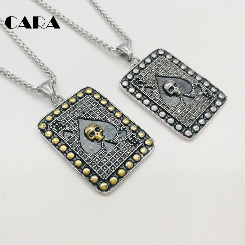 CARA Full rhinestones crystals Spade Ace Poker necklace pendant 316L stainless steel Spade Ace skull poker necklace CARA0442 stylish artificial crystals rhinestones oval necklace for women