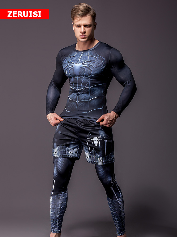 Tracksuits Joggers Running-Sets Compression Fitness Superhero Sports Men's Gym Quick-Dry