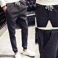 M-5XL 2016 Outono Calças de Trabalho Homens Listrado Casual Plus Size PL11 Moletom Finos Para Homens Hombre Pantalones Harem Pants Homens
