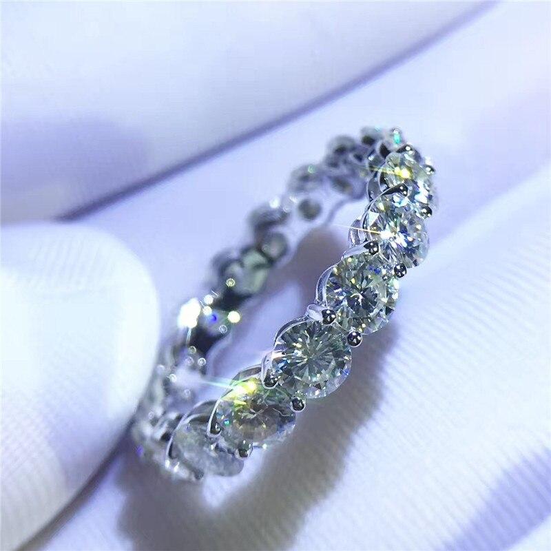 Vecalon Mode Frauen Schmuck 925 Sterling Silber Ring Voll Runde 4mm AAAAA Zirkon cz Verlobung Hochzeit band Ringe Für frauen