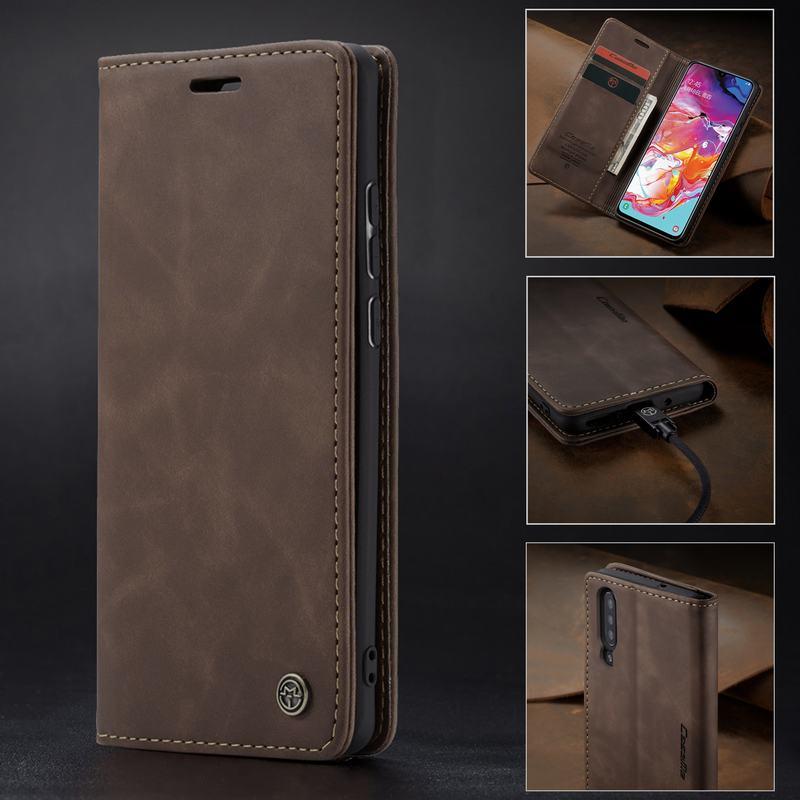 Telefon Fall Für Samsung Galaxy A70 Case EINE 70 Magnetischen Flip Leder Brieftasche Bücherregal Vintage Karte Slots Design Luxus shell