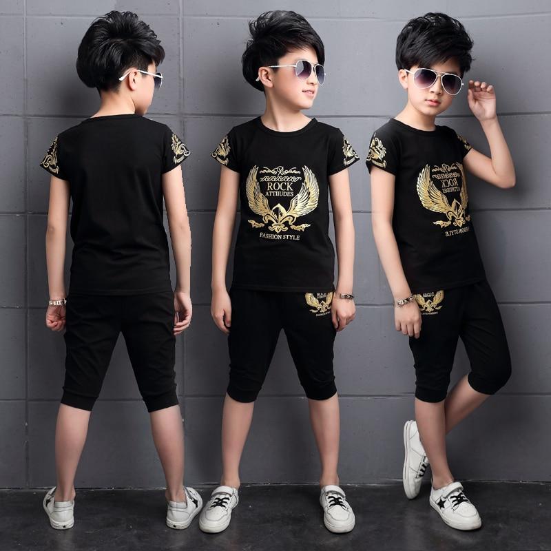Kid Boys Sets Short Sleeve T-shirt + Pants 2018 Summer Cotton Casual Cartoon Costume 2pcs Cute Boy Suits Children Clothes 7cs037
