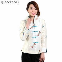 Hot Sale Beige Ladies Silk Satin Jacket Vintage China Style Embroidery Coat Flower Size S M