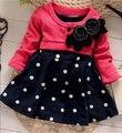 Moda baby girl dress new 2017 manga longa vestidos de criança para a menina bonito crianças crianças primavera outono roupas mg2200