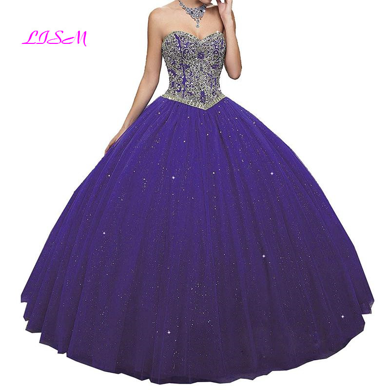 Sweetheart Girls 15 Years Crystals Long Quinceanera Dresses Elegant Empire Ball Gown Tulle Pageant Party Dress 2019