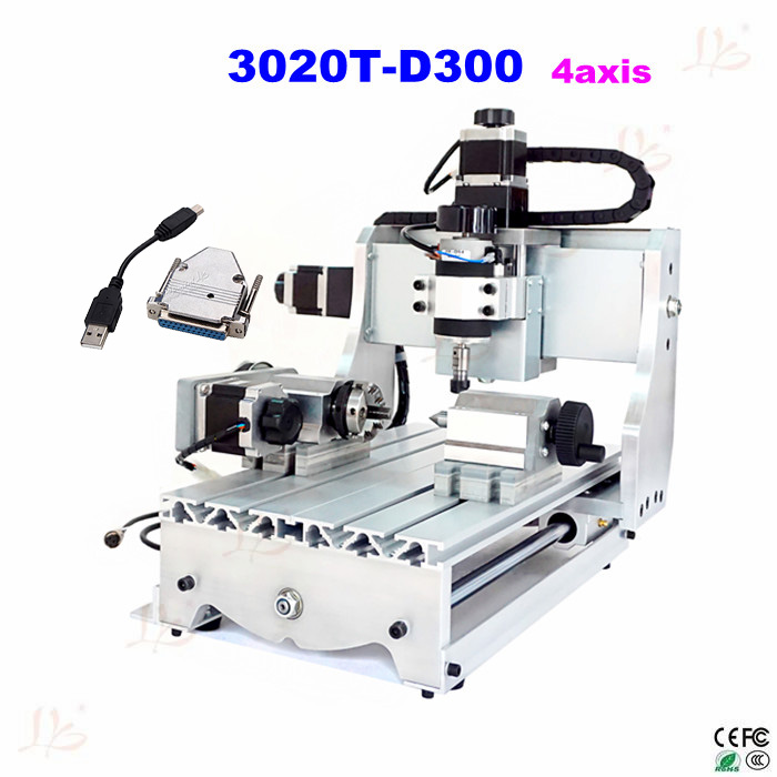 3020T-D300 4 axis CNC Router Engraver CNC Drilliing and Milling Machine with External USB adapter cnc 5axis a aixs rotary axis t chuck type for cnc router cnc milling machine best quality