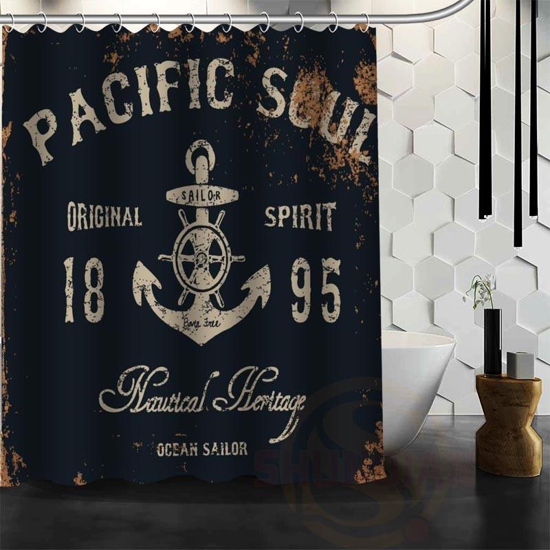 Best Nice Custom Anchor Shower Curtain Bath Curtain Waterproof Fabric For Bathroom MORE SIZE WJY&69