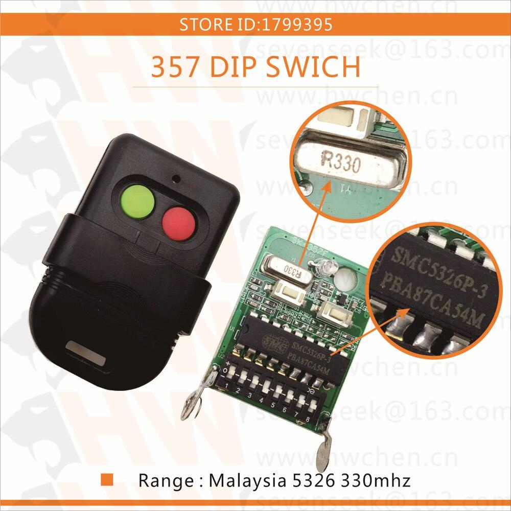 LIVRAISON GRATUITE 5 pcs Singapour malaisie 5326 330 mhz dip commutateur auto porte double télécommande clé fob