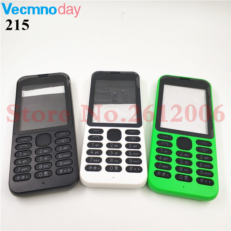 New Full Housing <font><b>Case</b></font> Cover Front Frame With Key Board Display Glass+Middle Frame+Back Cover For <font><b>Nokia</b></font> <font><b>215</b></font> image