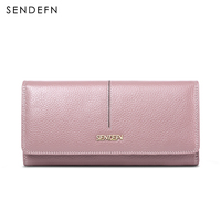 SENDEFN Genuine Leather Women Wallet Long Lady Casual Day Clutch Card Holder Phone Pocket Female Purse