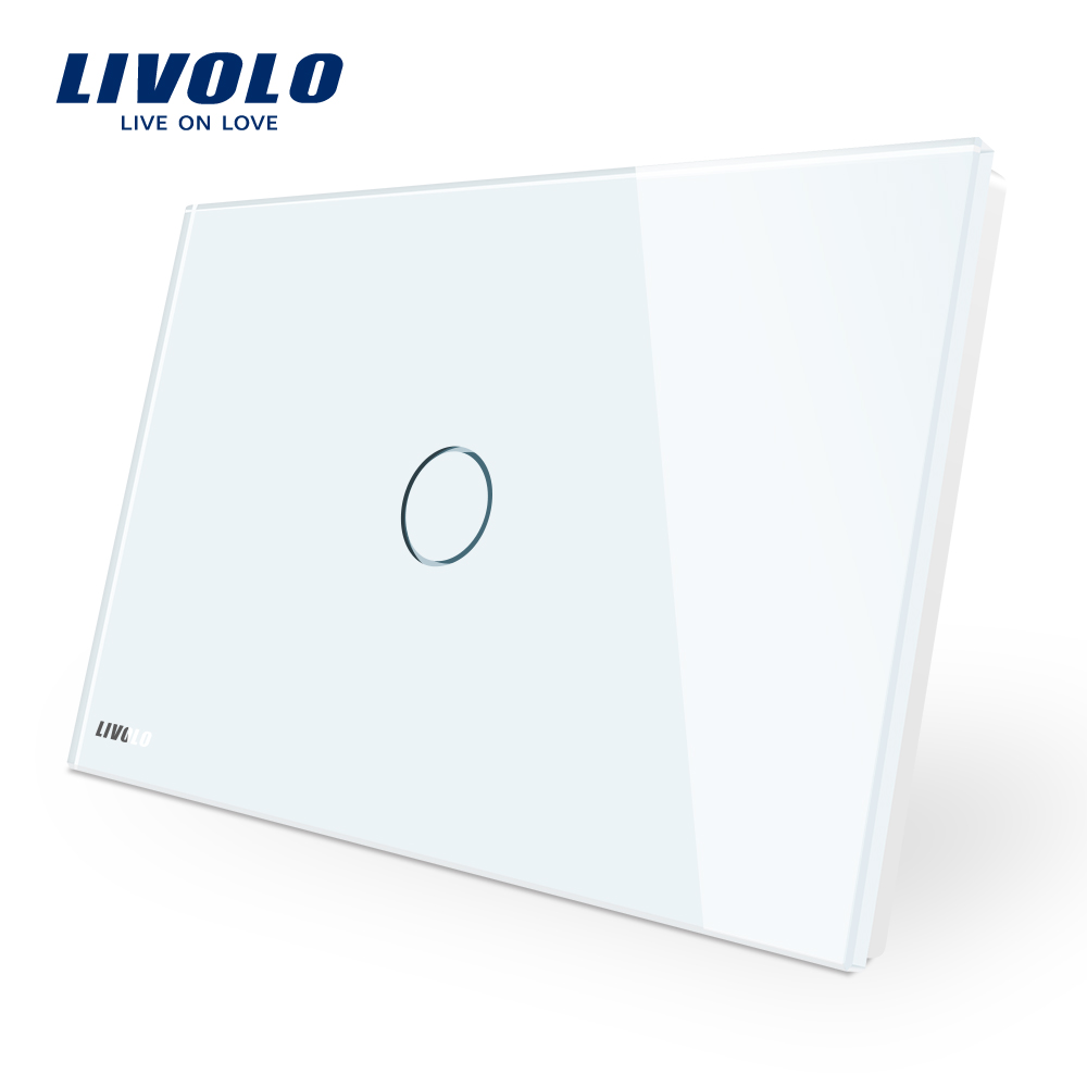 Touch Switch, Livolo White Crystal Glass Panel, AC110~250V, LED indicator, US/AU Standard Light Touch Screen Switch VL-C901-11 livolo us standard base of wall light touch screen remote switch ac 110 250v 3gang 2way without glass panel vl c503sr