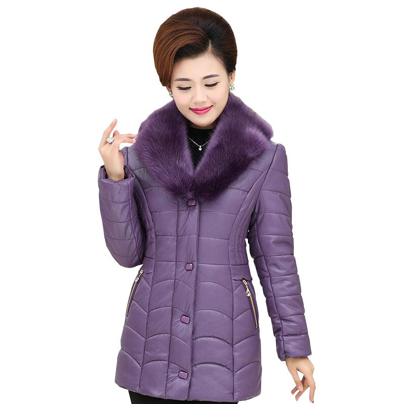 2017 New Middle-aged PU Coat Women Clothing autumn winter Temperament Mother fashion Cotton Jacket w428 куплю дом в с деревьяна