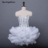 Corto elegante mini Vestidos de cóctel 2017 Más tamaño con Diamantes con piedras falsas mujeres sexy vestido de baile puffy nube blanco azul marino vestido de fiesta