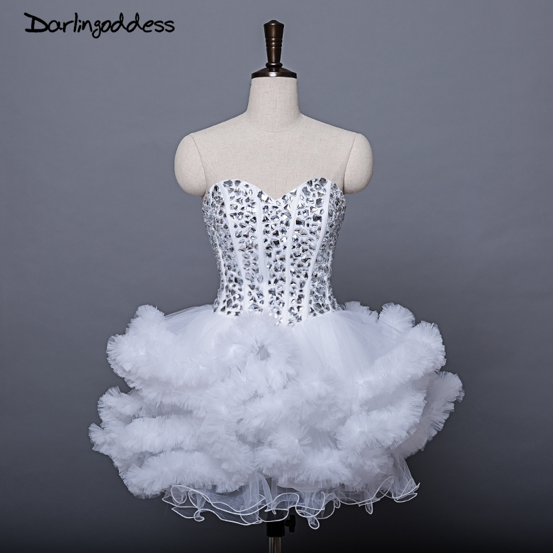 Elegant Short Mini   Cocktail     Dresses   2017 Plus Size with Rhinestones Sexy Women Prom   Dress   Puffy Cloud White Navy Blue Party Gown