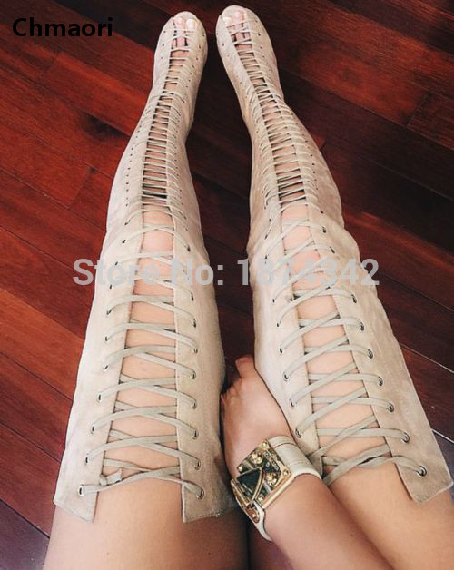 Fashion Long Boots Women Lace-Up Over The Knee High Heels Sexy Boots High Quality Leather Thigh High Spring Autumn Boots high quality genuine leather women shoes spring and autumn high heels women boots hollow out lace ladies fashion boots