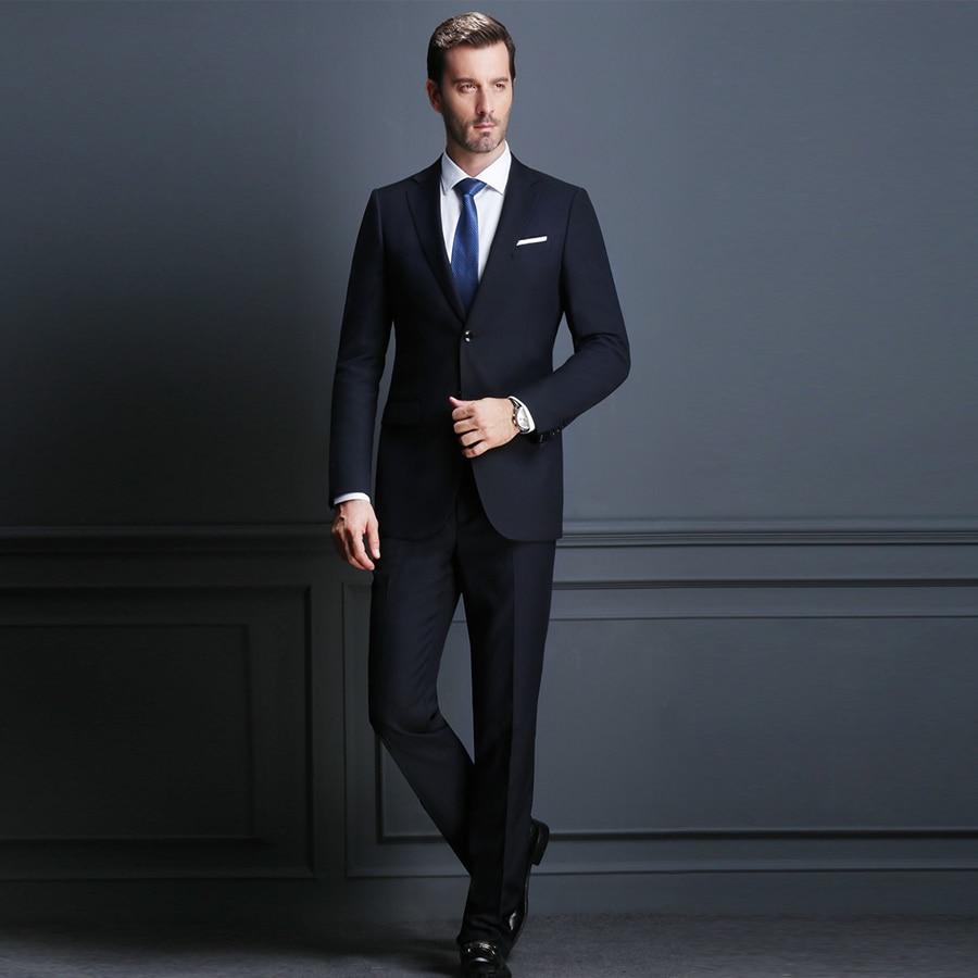Elegant Black Custom Made Busines Suit Slim Fit For Men Groom Tuxedos Wedding Suit 2 Pieces