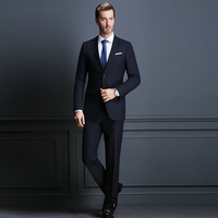 Elegant Black Custom Made Busines Suit Slim Fit For Men Groom Tuxedos Wedding Suit 2 Pieces