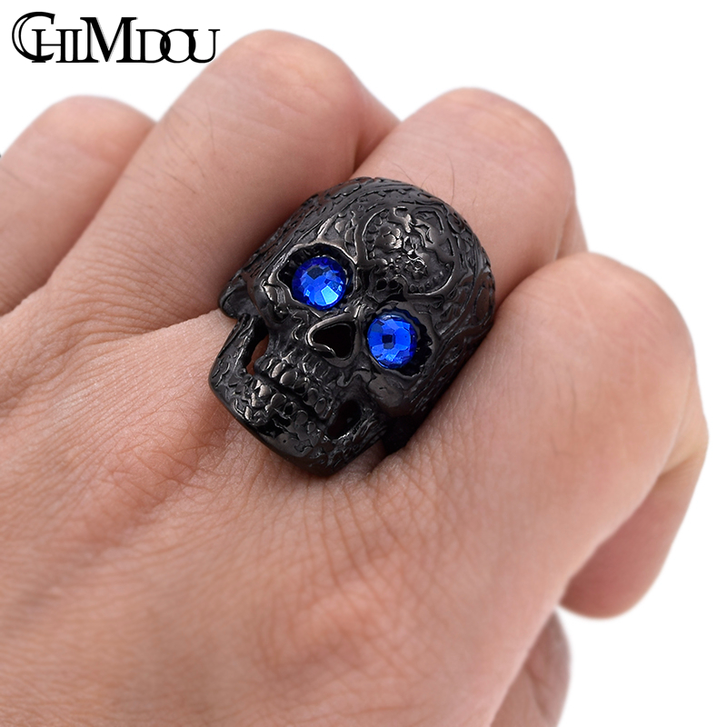 CHIMDOU flower tattoo blue eyes skull Men Ring Black stainless steel - Fashion Jewelry - Photo 4