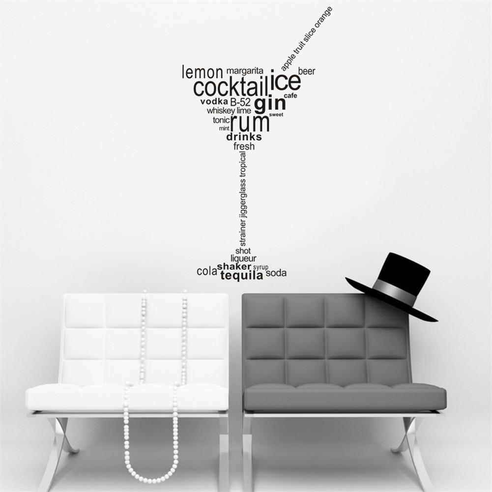 English Proverbs Pattern Goblet Shape Wall Sticker Personalized PVC Wall Stickers Bar KTV Decoration Size 31*57CM