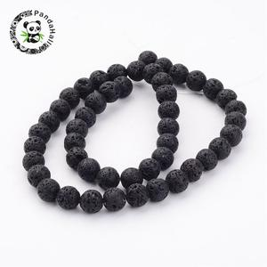 """Image 5 - 20Strands Round Black Natural Lava Beads for Jewelry Making DIY Necklace Bracelet 4 6 8 10 12mm hole: 0.5~1mm,15""""~16""""/Strand"""