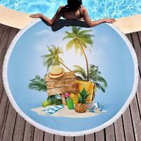 Casegrace Holiday Oasis Round Bath Towel Cute Summer Travelling Beach Towels Blue Sky Picnic Blanket With Tassels Yoga Mat